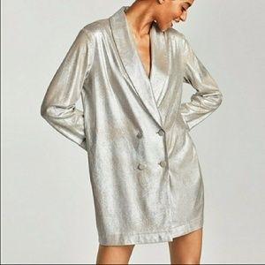 1a807423 Zara Dresses | Metallic Blazer Dress | Poshmark